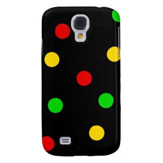Rasta Tupfen auf Schwarzem Galaxy S4 Hülle