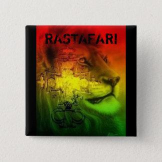 Rastafari Abzeichen Quadratischer Button 5,1 Cm