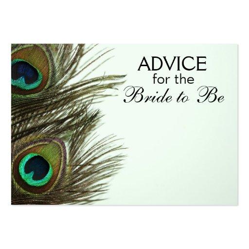 Rat, damit die Braut Pfau-Feder-Karten ist Visitenkartenvorlagen
