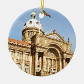 Rathaus in Birmingham, England Großbritannien Rundes Keramik Ornament