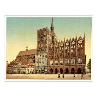 Rathaus und Sankt- Nikolauskirche, Stralsund, Pomm Postkarte