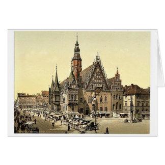 Rathaus vom Osten, Breslau, Schlesien, Deutschland Grußkarte