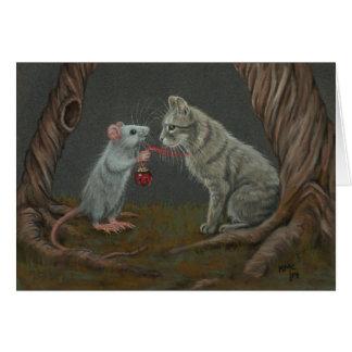 Ratte, die Glocke auf Katzengrußkarte setzt Grußkarten