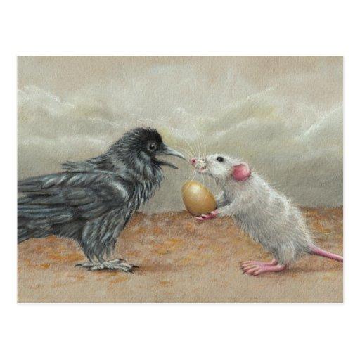 Ratte, die Rabeneipostkarte füttert Postkarten