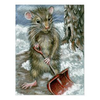 Ratte, die Schnee Postkarte schaufelt