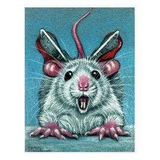 Ratte fiel Eis-Skaten-Postkarte
