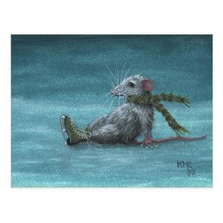 Ratte fiel während Eis-Skatenpostkarte Postkarte