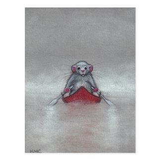 Ratte im Boot in der Nebel-Postkarte Postkarte