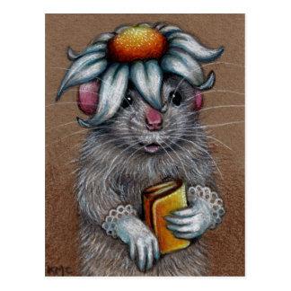 Ratte im Gänseblümchen-Hut und in der Spitze-Hands Postkarte