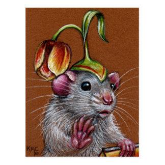 Ratte in der albernen Tulpe-Hut-Postkarte Postkarten