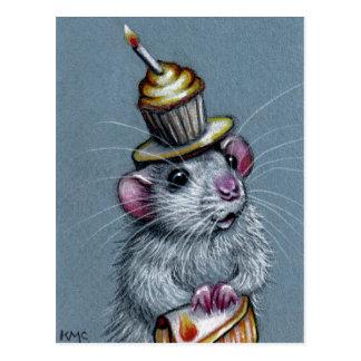Ratte in der Kuchen-Hut-Postkarte Postkarte