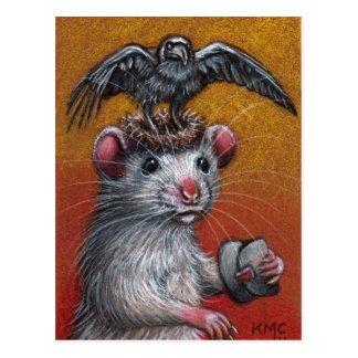 Ratte in der Raben-Hut-Postkarte Postkarte
