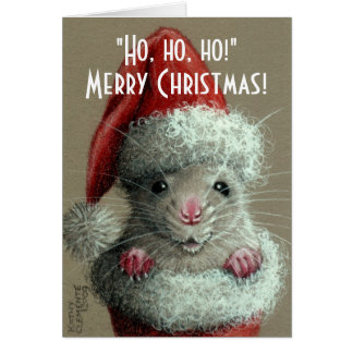 Ratte in der Weihnachtsmannmütze-Strumpf-Weihnacht Grußkarte
