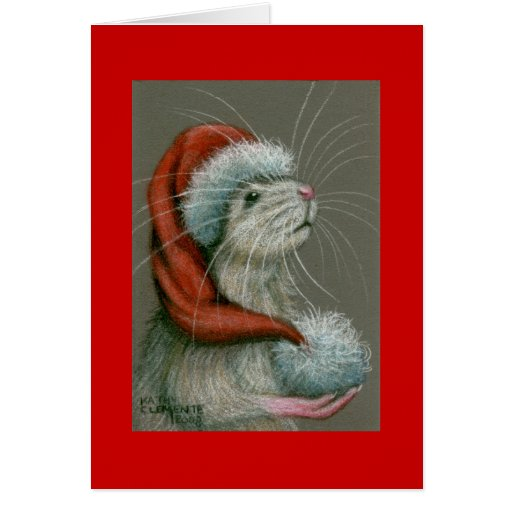 Ratte in der Weihnachtsmannmütze-Weihnachtskarte Grußkarten