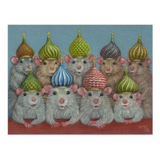Ratte in der Zwiebelhauben-Hutpostkarte Postkarte
