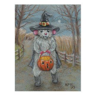 Ratte in Hexe-Kostüm-Halloween-Postkarte Postkarte