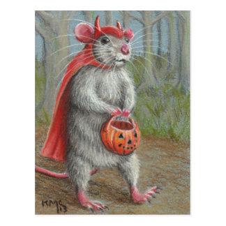 Ratte in Teufel-Kostüm-Halloween-Postkarte Postkarte