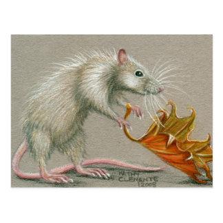 Ratte mit Blatt-Fall-Postkarte