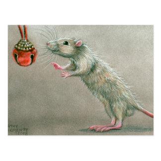 Ratte mit rotem Glockenpostkarte Weihnachten Postkarte