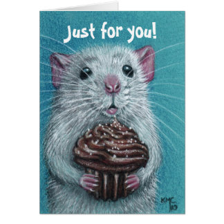 Ratte mit Schokoladen-Kuchen-Karte