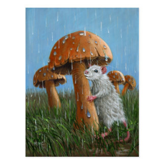 Ratte unter Pilz in der Regen-Postkarte Postkarte