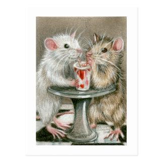 Ratten auf einer Datums-Postkarte