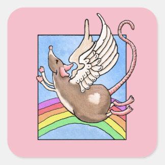 Ratten-Engels-Aufkleber Quadratischer Aufkleber