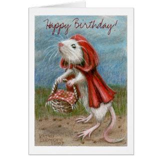 Ratten-Kap und Korb, alles Gute zum Geburtstag! Karte