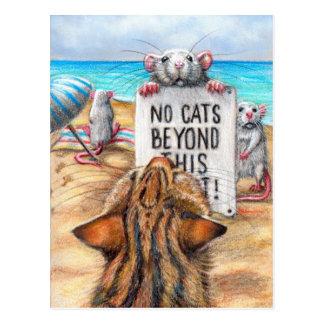 """Ratten-Katzen-Strand """"keine Katzen-"""" Zeichen-Postk Postkarte"""