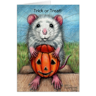 Ratten-Kürbis-Halloweenkarte, -trick oder Karte