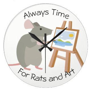 Ratten-liebevolle Künstler passen auf Große Wanduhr