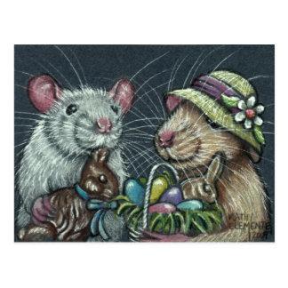 Ratten-Ostern-Korb-Postkarte Postkarten