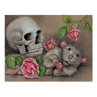 Ratten-Rosen-Schädel-Postkartenzeichnen Postkarte