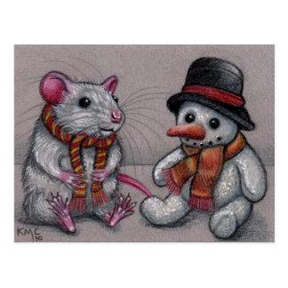 Ratten-Schneemann in Schal Postkarte