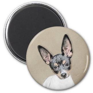 Ratten-Terrier-Malerei - niedliche ursprüngliche Runder Magnet 5,7 Cm