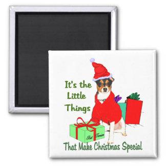 Ratten-Terrier-Weihnachtsgeschenke Quadratischer Magnet