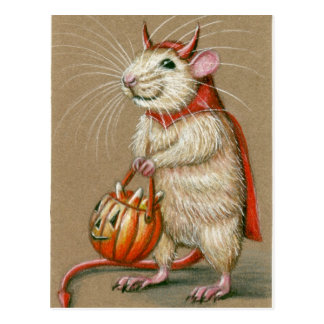 Ratten-Teufel-Halloween-Postkarte Postkarte