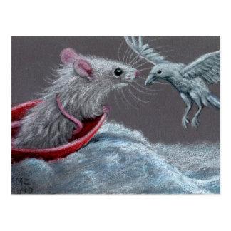 Ratten-weiße Raben-Postkarte Postkarte