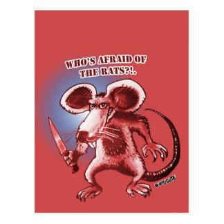 Ratten-Weißmesser der Cartoonart verärgertes Postkarte