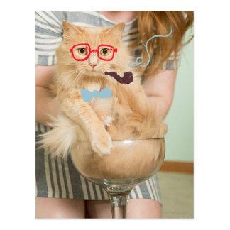 Rauchende Katze Postkarte
