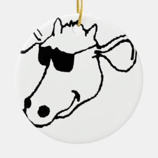 Rauchende Kuh mit Sonnenbrille Keramik Ornament