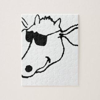Rauchende Kuh mit Sonnenbrille Puzzle