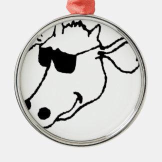 Rauchende Kuh mit Sonnenbrille Silbernes Ornament
