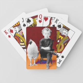 Rauchender Junge mit Huhn-Spielkarten Spielkarten