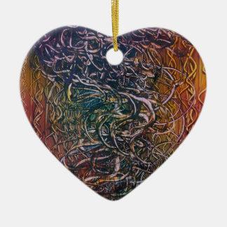 Rauchender Vulkan Keramik Herz-Ornament