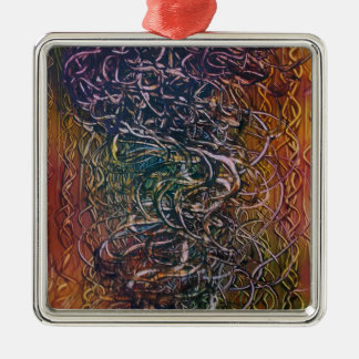 Rauchender Vulkan Quadratisches Silberfarbenes Ornament