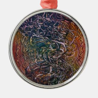 Rauchender Vulkan Rundes Silberfarbenes Ornament