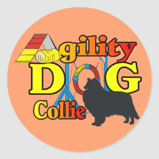 raue Collie-Agility-Shirtgeschenke Runder Aufkleber