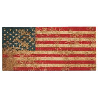Raue gealterte Vintage amerikanische Flagge Holz USB Stick