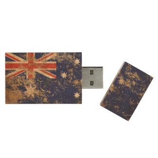 Raue gealterte Vintage australische Flagge Holz USB Stick